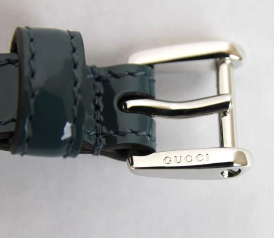 Gucci Gucci Slim Patent Leather Belt Silver Buckle Teal 80/32 331689 4416
