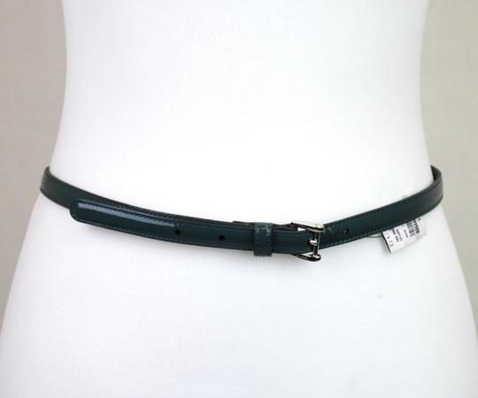 Gucci Gucci Slim Patent Leather Belt Silver Buckle Teal 85/34 331689 4416