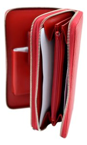 Gucci Gucci 336298 Red Leather Diamante XL Double Zip Travel Clutch Wallet