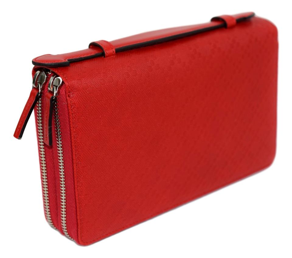 7be3d7ec95dc Gucci Gucci 336298 Red Leather Diamante XL Double Zip Travel Clutch Wallet  Image 0 ...