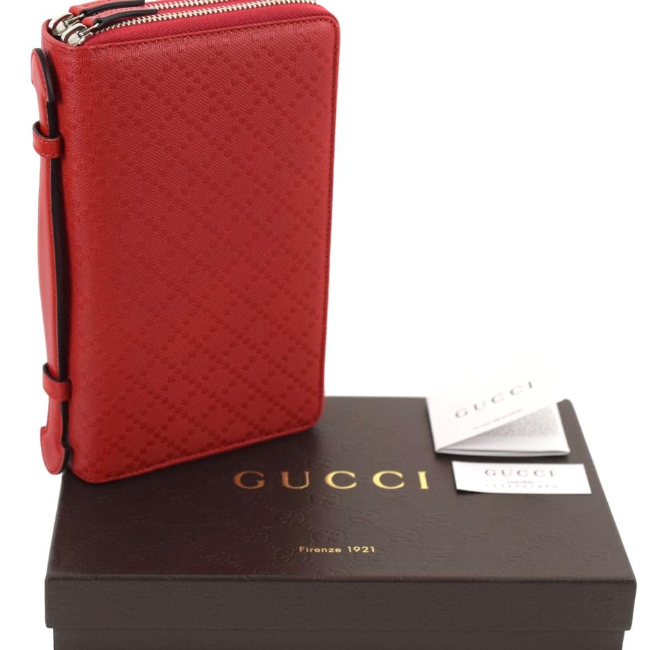 36a18fcd5332 Gucci Gucci 336298 Red Leather Diamante XL Double Zip Travel Clutch Wallet  Image 11. 123456789101112