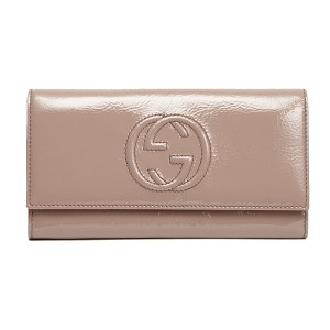 Gucci GUCCI Soho Mauve Powder Pink Patent Leather Flap Wallet 282414