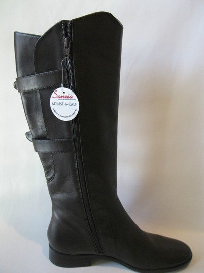 Sanzia Equestrian Riding Leather Knee High Tall Brown Boots