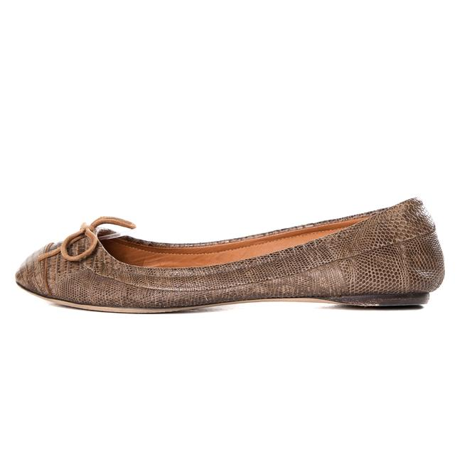 Item - Brown Embossed Leather Flats Size US 5.5 Regular (M, B)