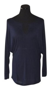 Veronica M Scoop Neck 3/4 Length Sleeves Soft Top Navy Blue