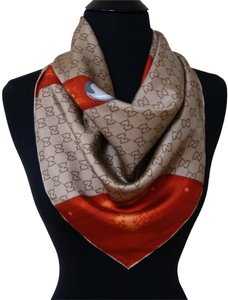 Gucci Gucci Travel Luggage Beige Orange 100% Silk Women's Authentic Scarf