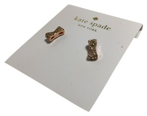 Kate Spade Rose Gold Designer New York Ny Small Bow Clear Crystal Stud Earrings