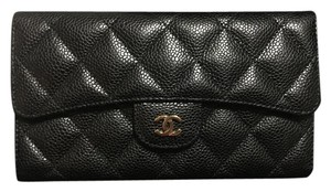 Chanel Classic Chanel Flap Wallet in Black Caviar Leather with Gold Hardware