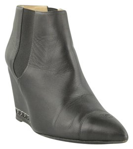 Chanel Wedge Leather Chain Black Boots