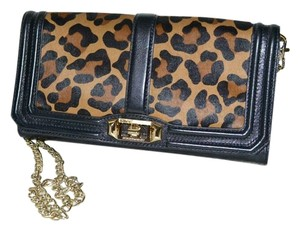 Rebecca Minkoff Love Animal Print Leopard Calf Hair Clutch Cross Body Bag