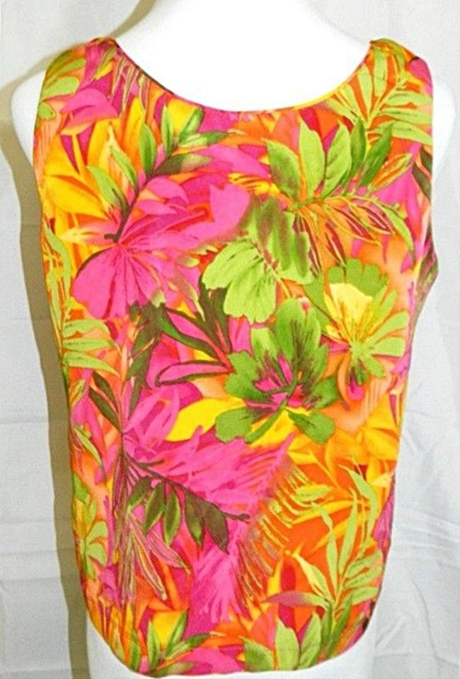 Shell Sleeveless Tropical Floral Print Top Multi Color