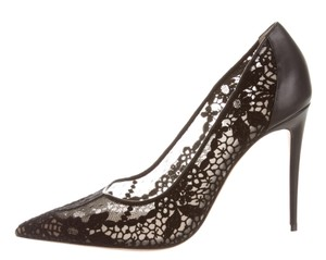 Valentino Lace Pointed Toe Leather Rockstud Mesh Black Pumps