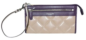 Coach New COACH Legacy Quilted Leather Wristlet Wallet 2 tone Tan Aubergine