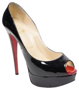 Christian Louboutin Lady Peep 37.5 Patent Leather Black Pumps