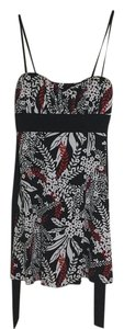 Speechless short dress Black with red and white floral pattern on Tradesy