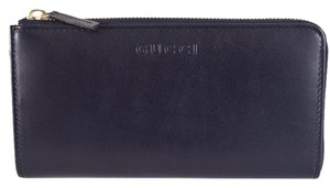 Gucci Gucci Women's 332747 BLUE Calf Leather Logo Zip Around Wallet Clutch