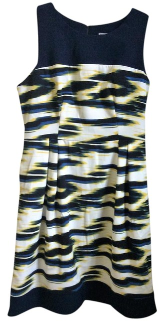 Item - Navy Blue White Yellow and Black Print Multi-colored Mid-length Work/Office Dress Size 10 (M)