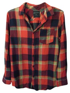 Modern Amusement Button Down Flannel Button Down Shirt red plaid