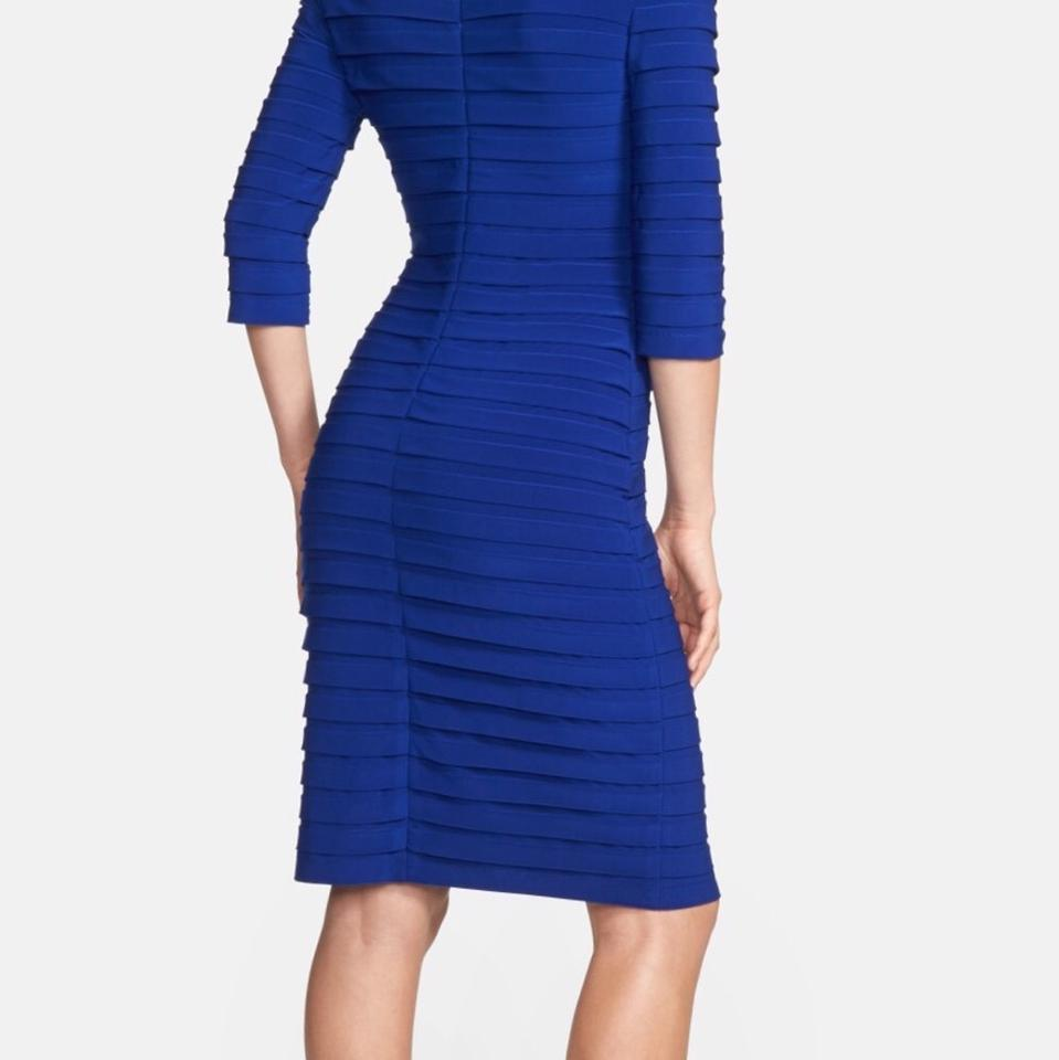Adrianna Papell Blue Sapphire Knee Length Cocktail Dress Size 10 (M ...