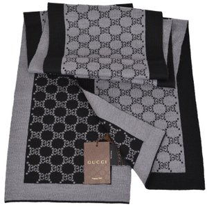 Gucci Gucci 421068 Black and Grey Wool GG Guccissima Wool Scarf Muffler