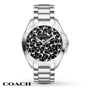 Coach Coach Tristen 14502347 Silver Stainless Signature Black Dial Watch