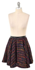 Torn by Ronny Kobo Vibrant Textured Tweed Circle Mini Mini Skirt Red