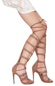 Nasty Gal Gladiator Lace Up Thigh High Nude Trendy Tan Sandals