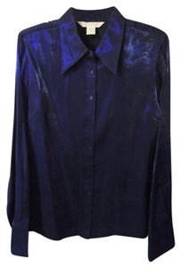 Express Shinny Button Down Top deep purple