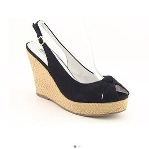 Steve Madden Sandals Espadrille Black Wedges