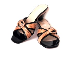 Prevata Leather Cork Buckle Detail Patent Leather Sandals