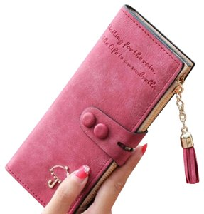 Wine Red Umbrella Long Wallet with Tassel