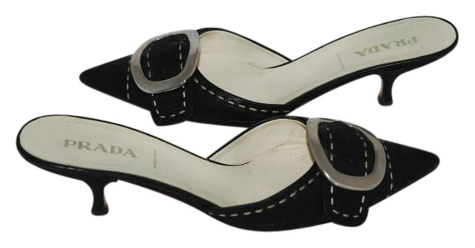 Prada Black 641016 Pebbled Leather Mules/Slides Buckle Classic 37.5 Mules/Slides Leather 840a03