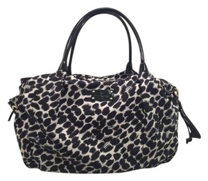Kate Spade Animal Print Leopard Nylon Patent Leather Black/White Diaper Bag