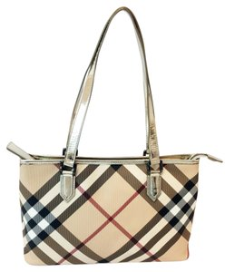 Burberry Patent Leather Canvas Beige Gun Metal Tote in Classic Burberry Nova