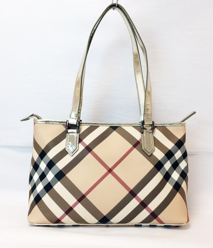 7ac2b2463abc Burberry Check Regent Top Zip Classic Leather Tote - Tradesy