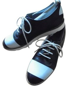 Wood Wood Leather Oxfords Blue Flats