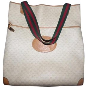 Gucci Extra Large Size Satchel Or Multi-compartment Leather Tote in ivory coated canvas/camel G logo/leather & red/green striped straps