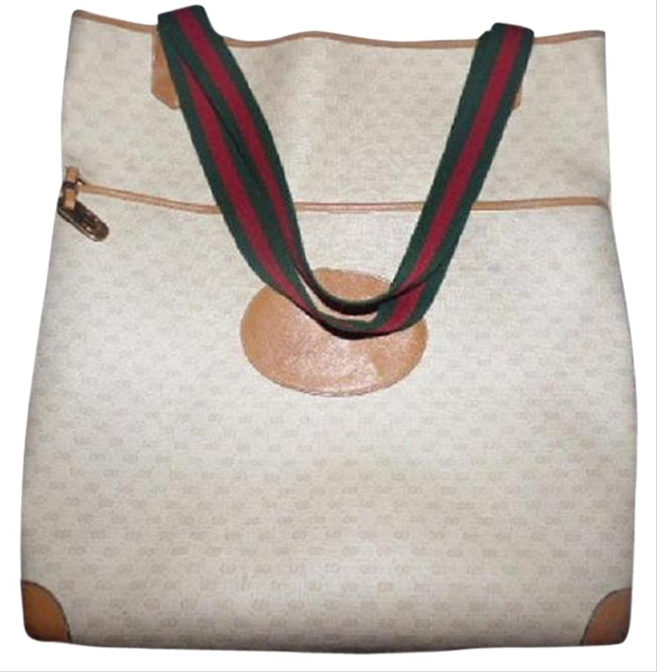Gucci Vintage /designer Ivory Coated Canvas/camel G Logo/leather ...