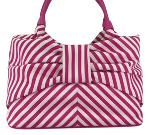Kate Spade Canvas Striped Tote in Pink/White