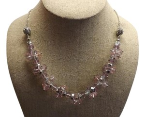 Crystal Necklace Beautiful Glass Crystal Bead Necklace, Nice Purple and Pink Colors!