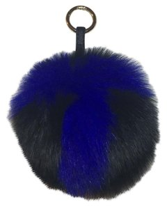 Urban Bling ABC T Fox Fur Letter Bag Charm Pom Pom Keychain