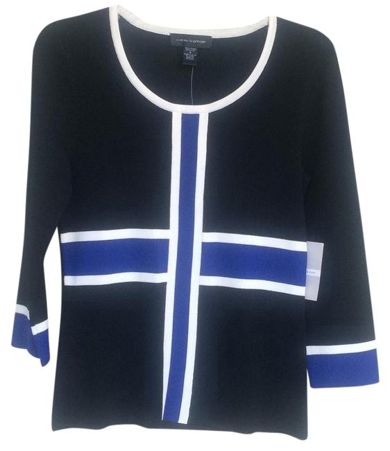 Cable & Gauge Black White and Royal Blue Cardigan Size 6 (S) Cable & Gauge Black White and Royal Blue Cardigan Size 6 (S) Image 1