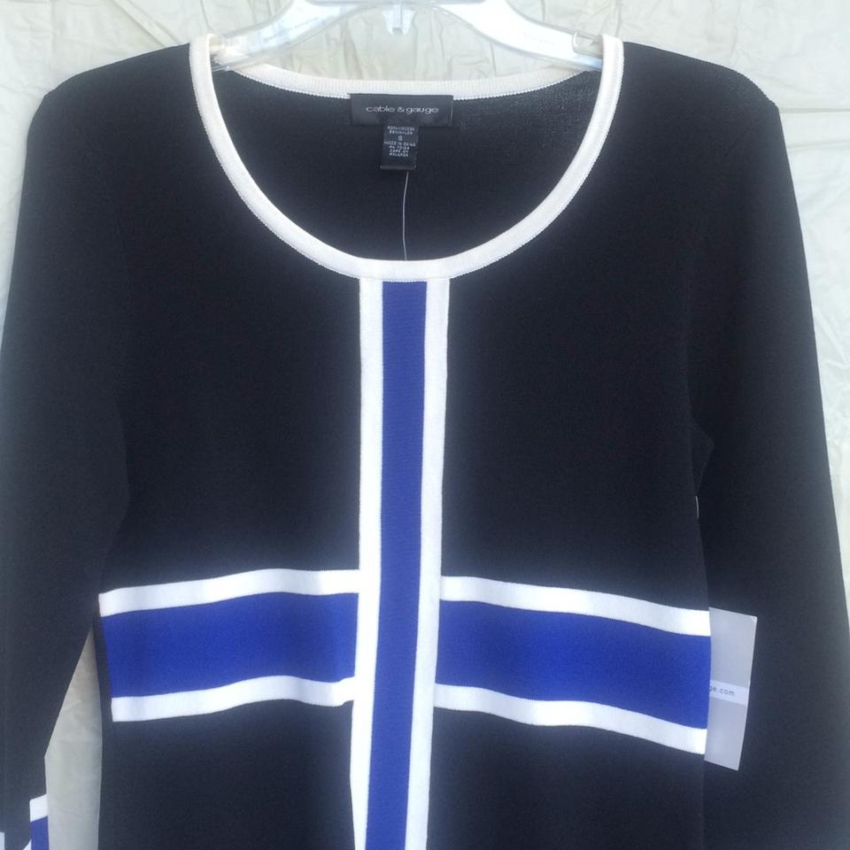 Cable & Gauge Black White and Royal Blue Cardigan Size 6 (S) - Tradesy