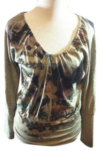 American Rag Pullover Casual Floral Stretchy Machine Washable Top Multi-Color