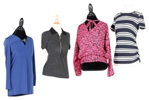 Michael Kors Monogram Hardware Zippers Pullover Top Navy, White, Cobalt Blue, Fuschia, Black