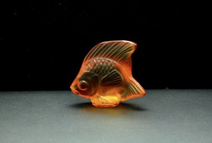 Lalique France Amber Crystal Fish Sculpture With Tag