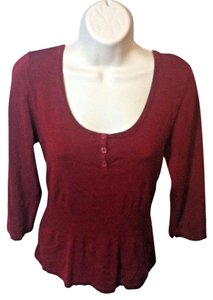 AB Studio Pullover Casual Stretchy Top Red