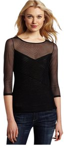 BCBGMAXAZRIA Classic Sheer Pleated Tulle Spandex Top BLACK