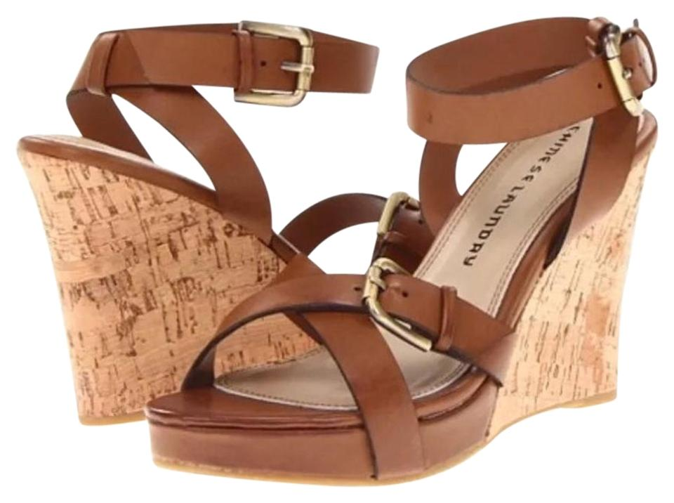 Chinese Laundry Honey Brown Platform Wedges Ankle Wrap Wedges Platform f99aa8