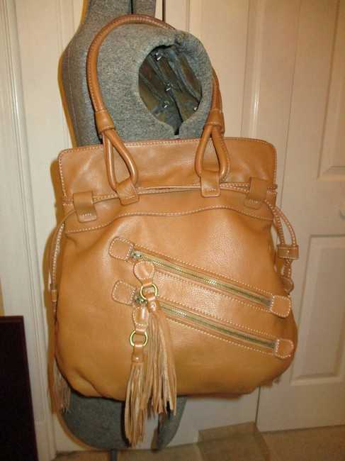 a.n.a. a new approach Shoulder Tan Leather with Vinyl Trim Hobo Bag a.n.a. a new approach Shoulder Tan Leather with Vinyl Trim Hobo Bag Image 2